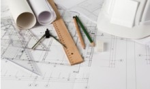 Architectural blueprints and drawing tools